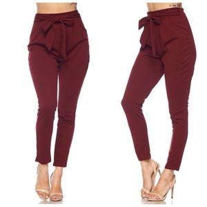 "Pants - •LAST 4 ""Kennedy"" Wine Front Tie Pants"